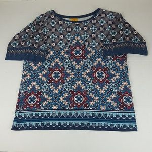 Womens Medium Floral/Geometric Embellished T Shirt